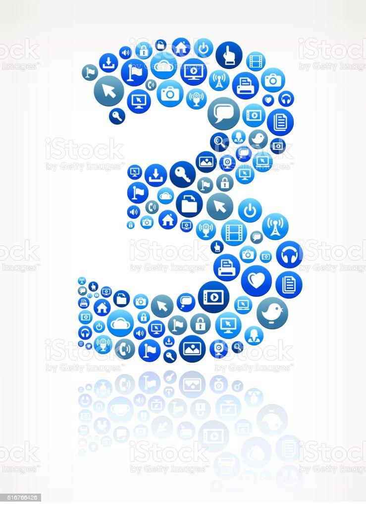 Three Technology Internet and Media Blue Button Pattern vector art illustration