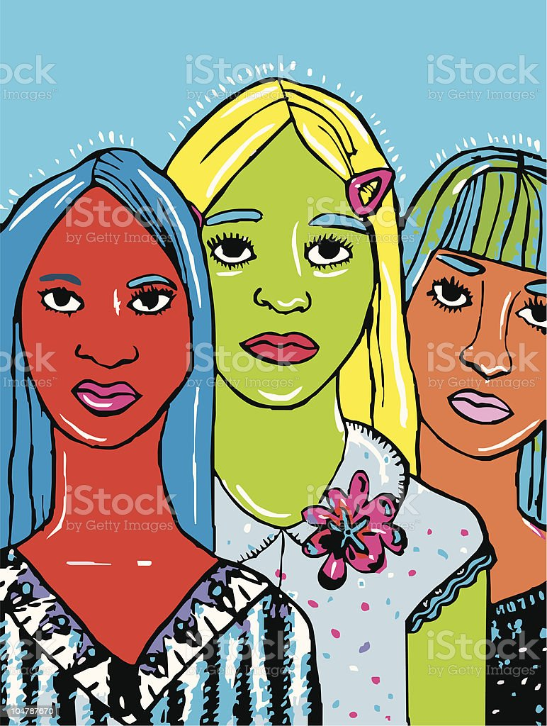 Three teenagers royalty-free stock vector art