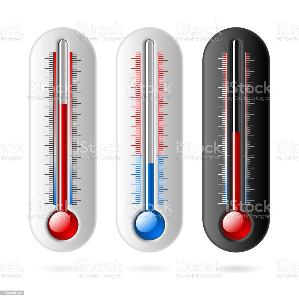 Three thermometer graphics on a white backdrop royalty-free stock vector art