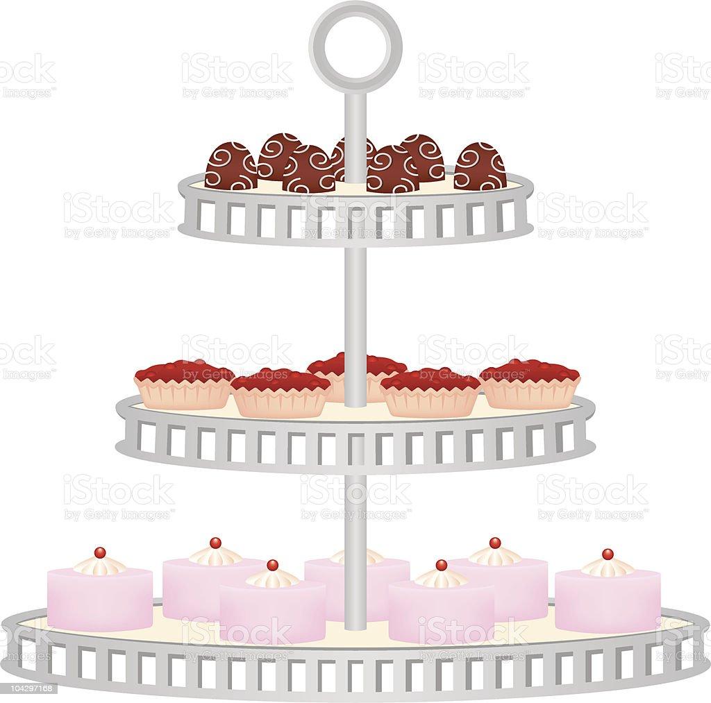 Three Tiered Dessert Stand vector art illustration
