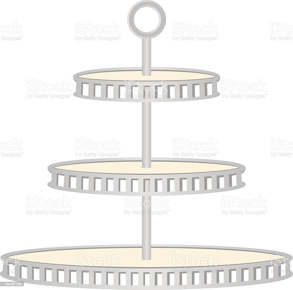 Three tiered silver serving tray royalty-free stock vector art