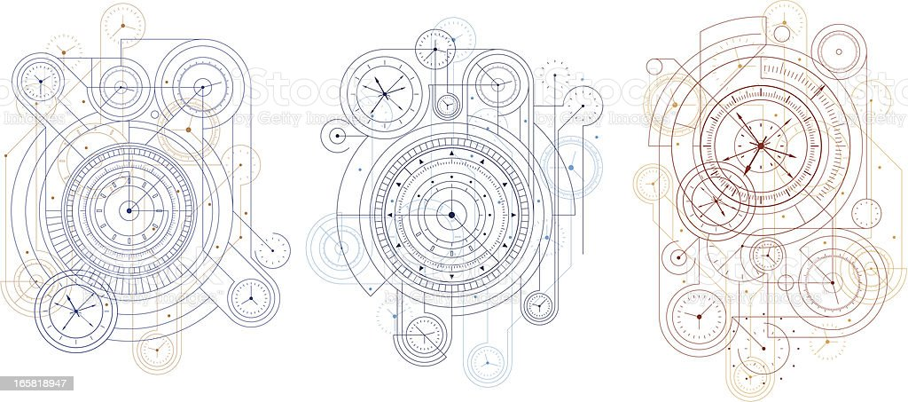 Three time design blueprints on white background vector art illustration