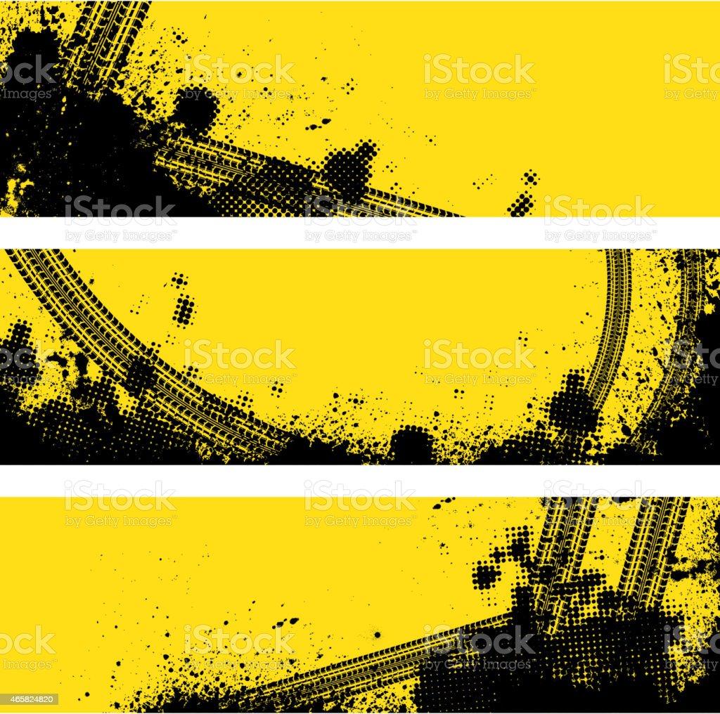 Three tire track banner vector art illustration