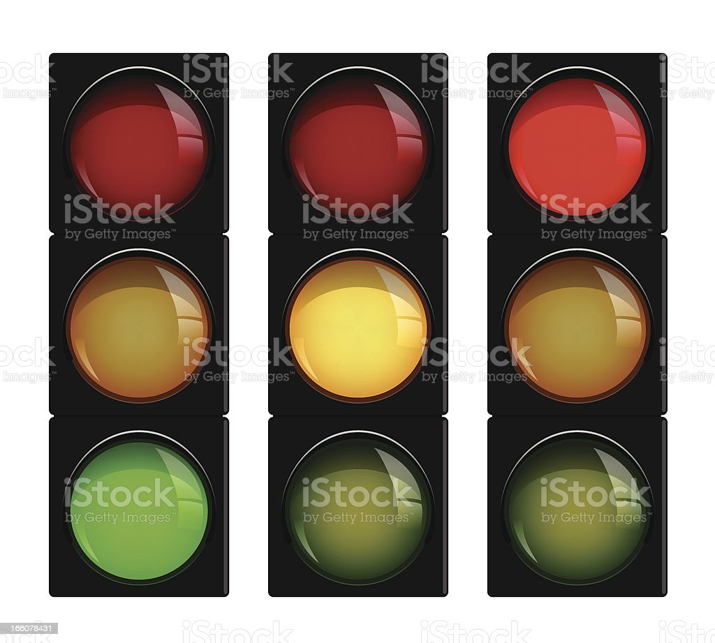 Three traffic lights, each with different light illuminated royalty-free stock vector art