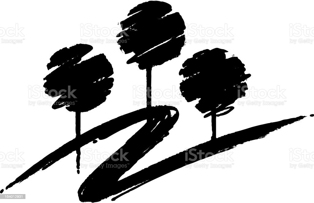 Three trees drawn in a scribble style royalty-free stock vector art