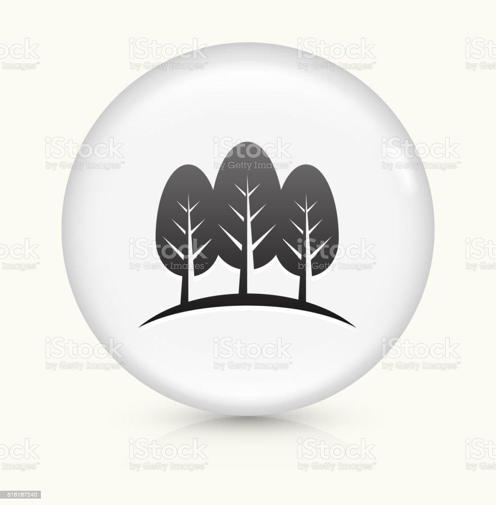 Three Trees icon on white round vector button vector art illustration