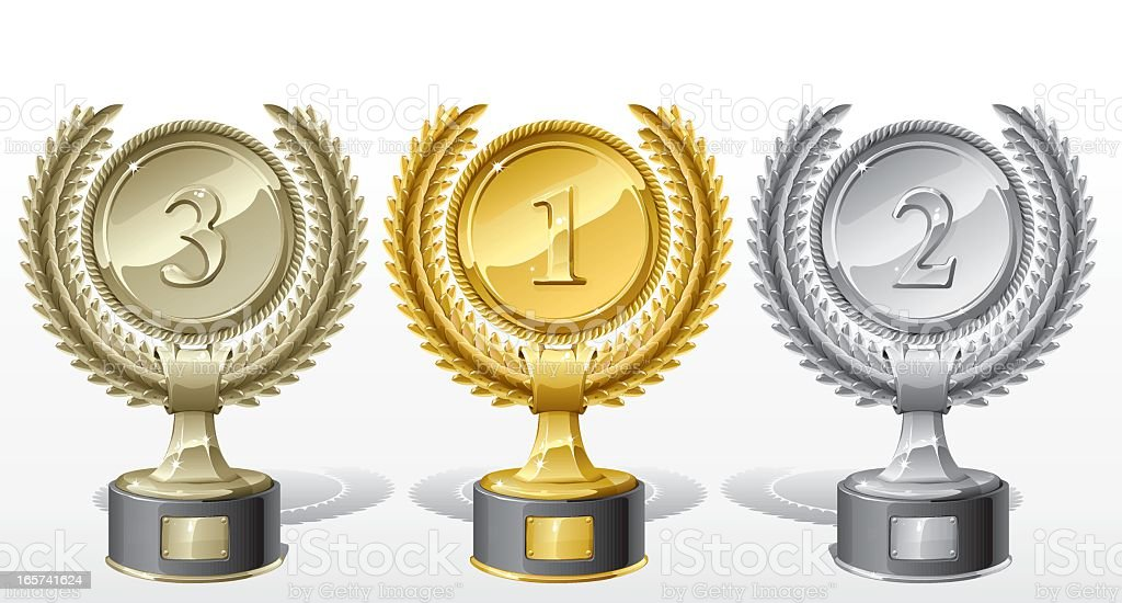 Three trophies made of gold, silver and bronze royalty-free stock vector art