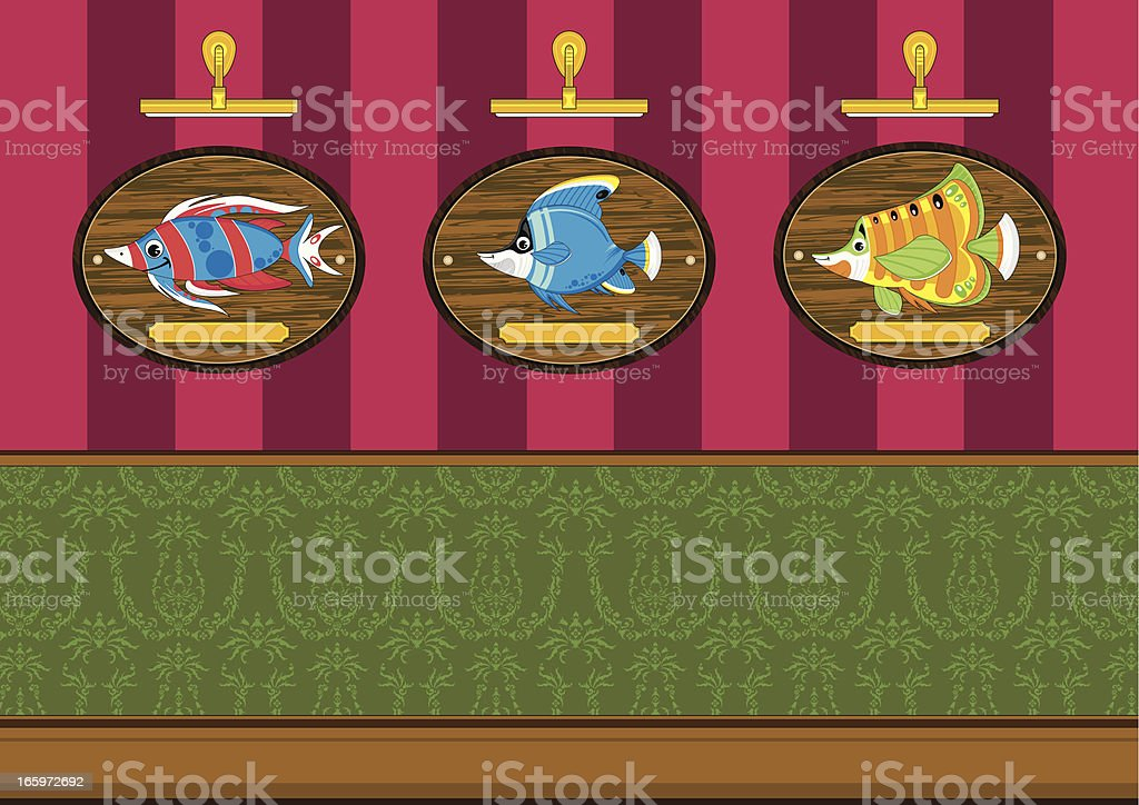 Three Tropical Fish on Mounts Scene royalty-free stock vector art