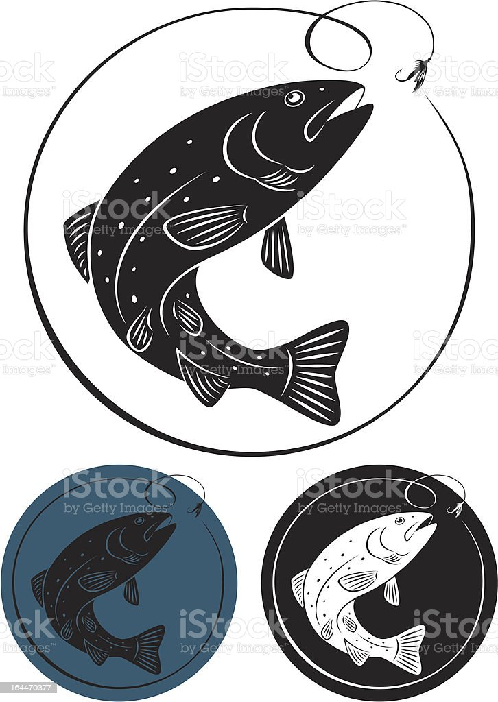 Three trout fish icons in different colors vector art illustration