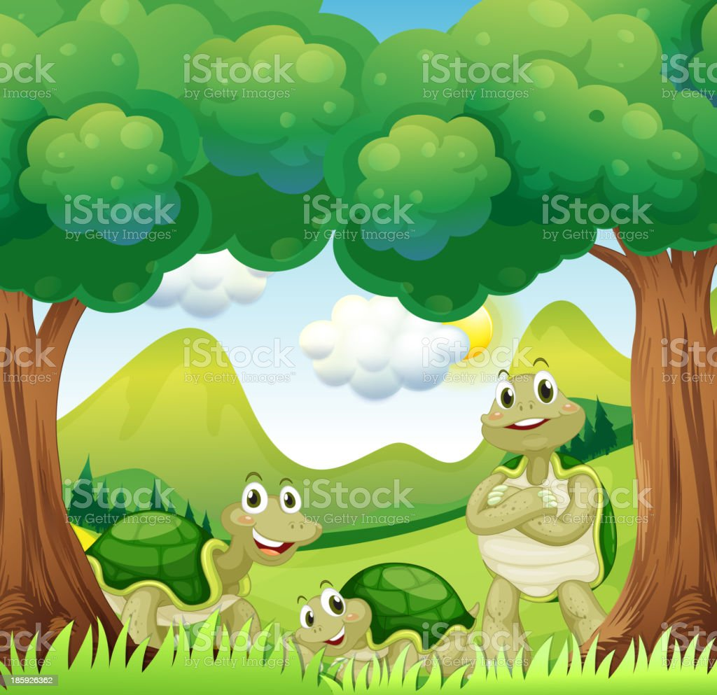 Three turtles in the woods royalty-free stock vector art