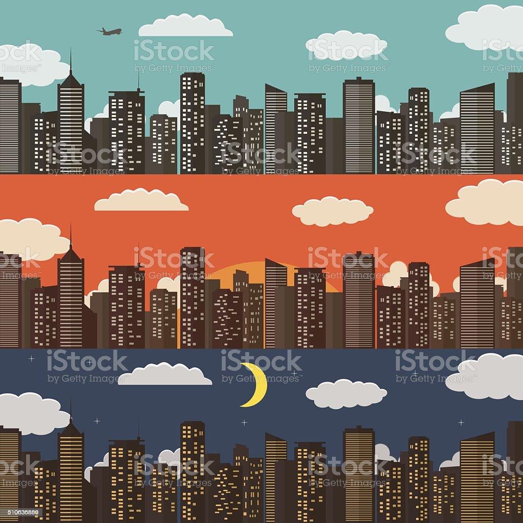 Three Urban Landscape Banners. Summer City Background. Vector Illustration royalty-free stock vector art