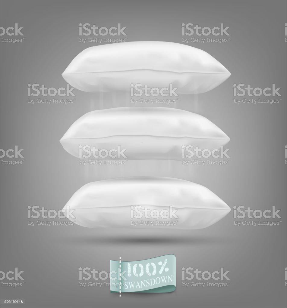 Three vector cushion falling on a gray background vector art illustration