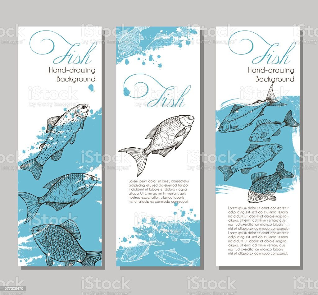 Three vector flyer with linear silhouettes vector art illustration