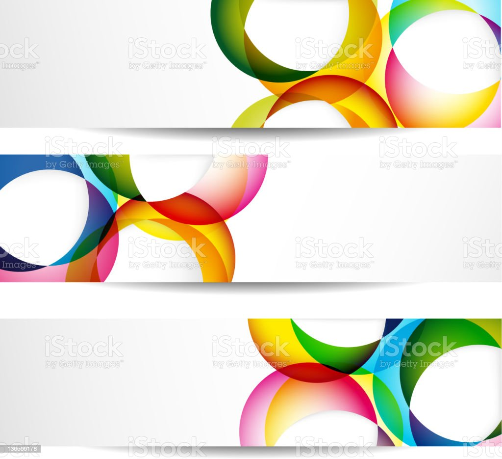 Three vector illustrations of blank colorful banners royalty-free stock vector art