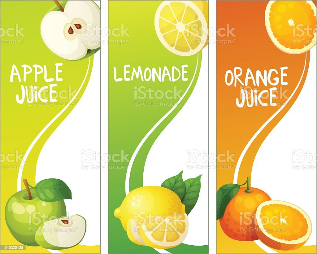Three vertical banners with apple, leon and orange fruits. Cartoon vector art illustration