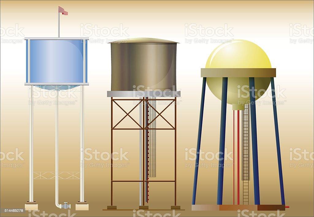 Three water towers vector art illustration