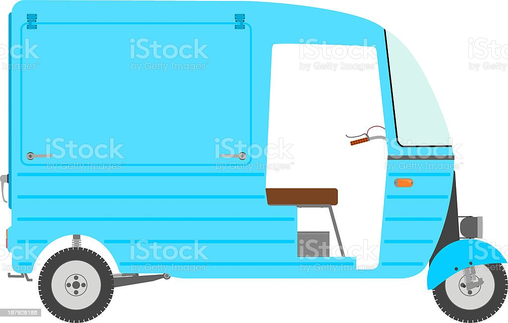 Three wheeled motor rickshaw. royalty-free stock vector art
