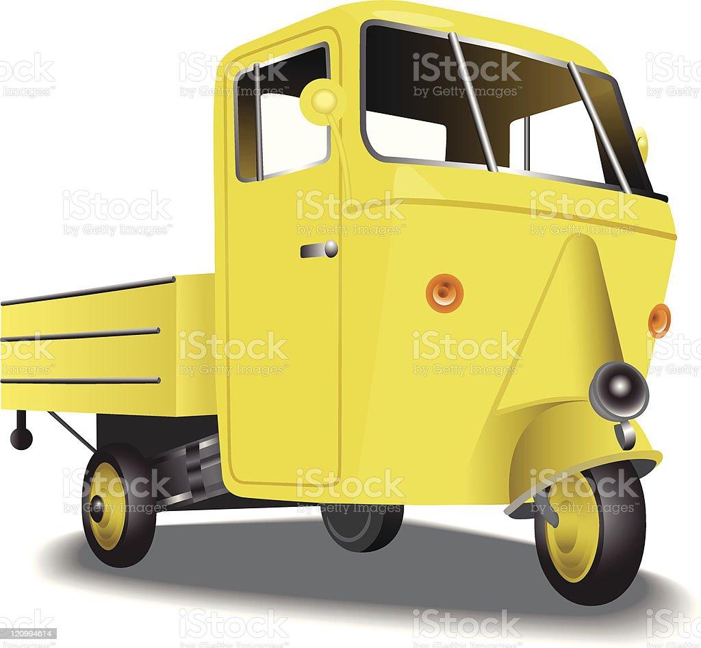 three wheeled van royalty-free stock vector art