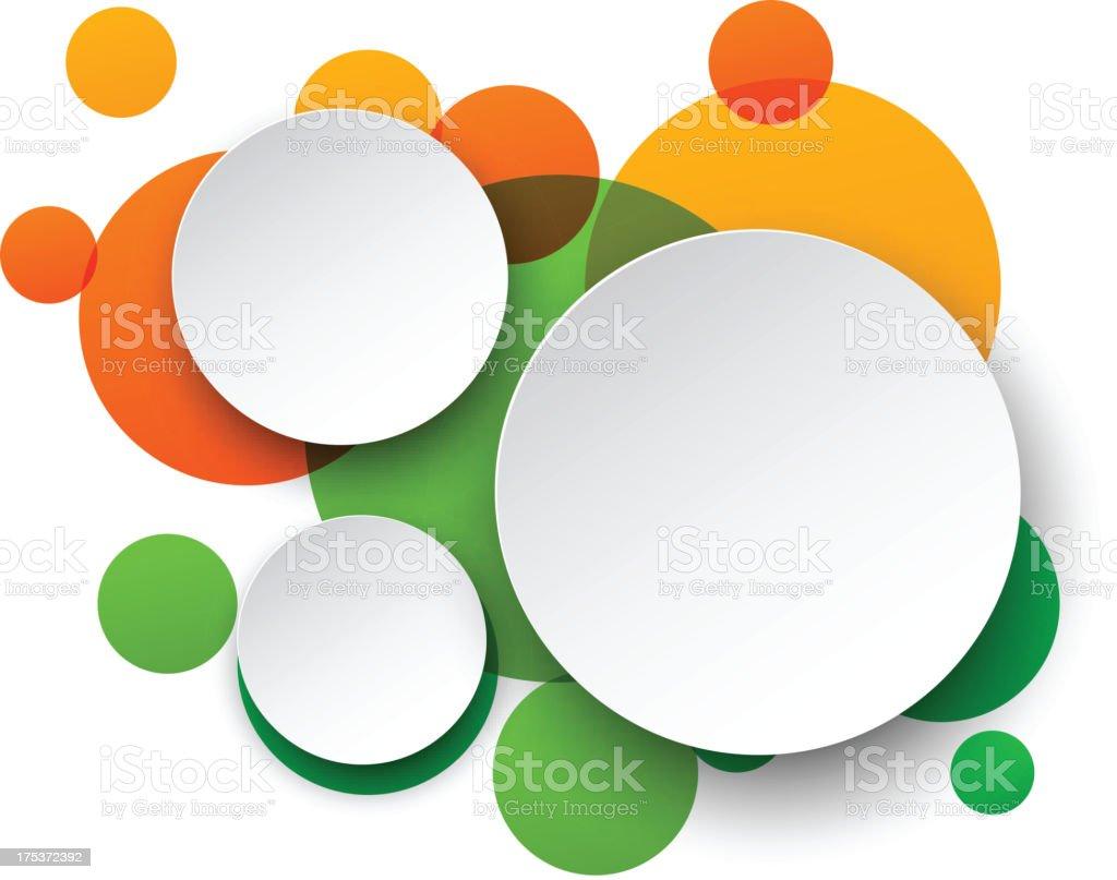 Three white circles on top of green and orange circles royalty-free stock vector art