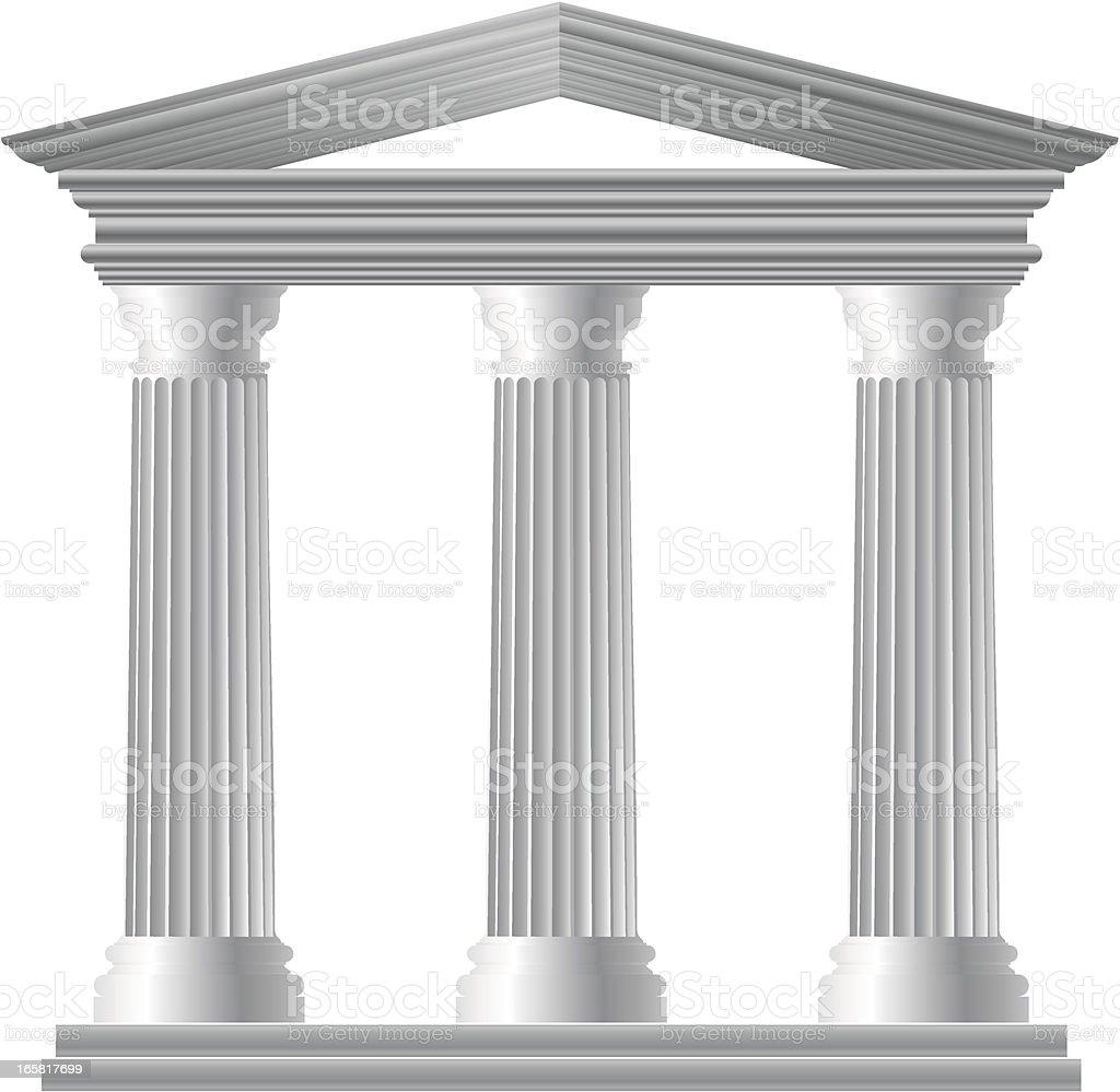 Three white Greek pillars on a white background royalty-free stock vector art