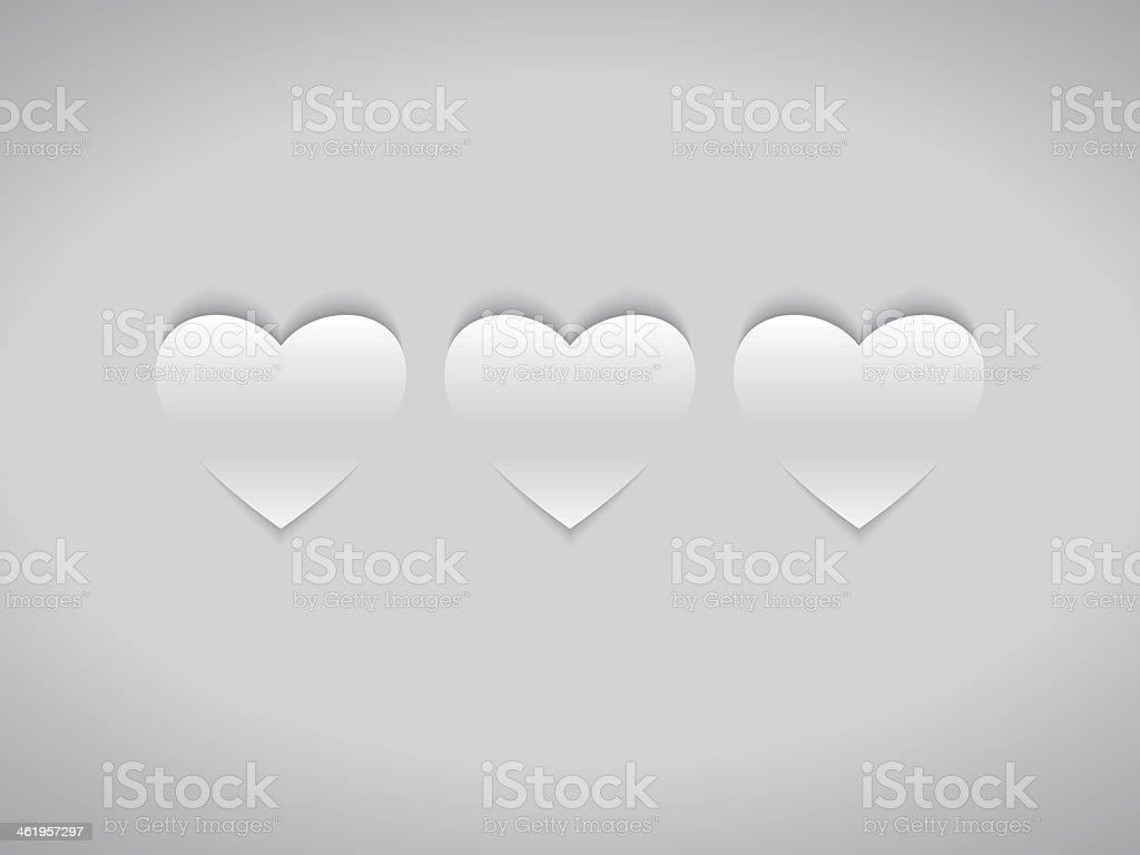 Three White Hearts vector art illustration