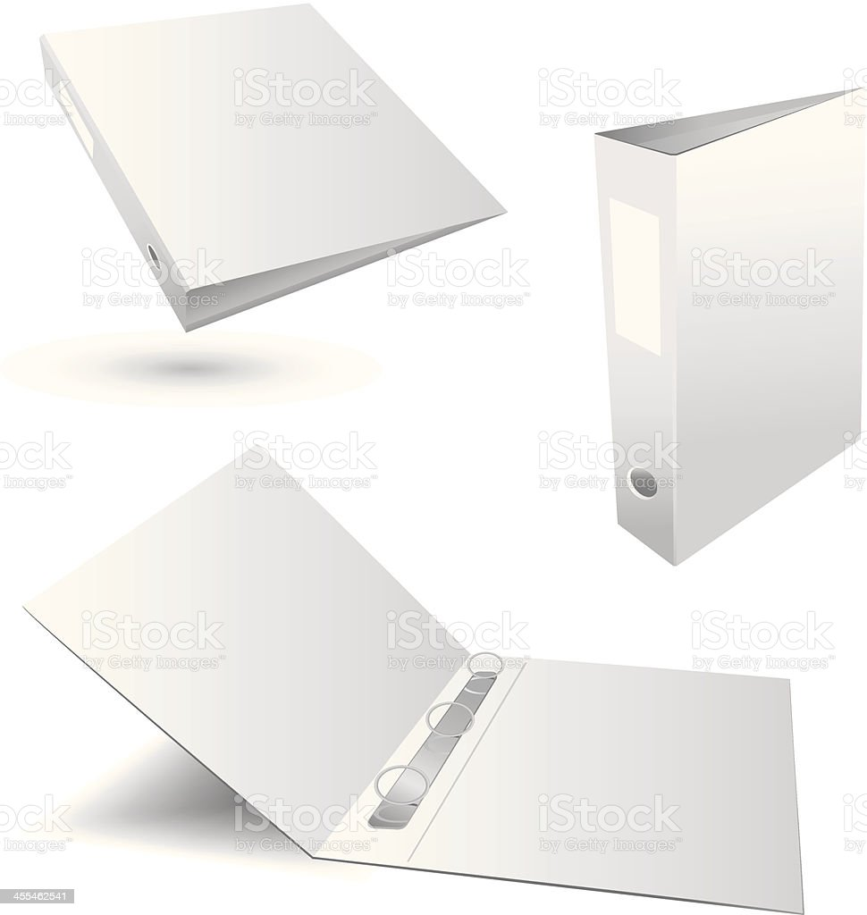 Three white plain binders in various positions vector art illustration