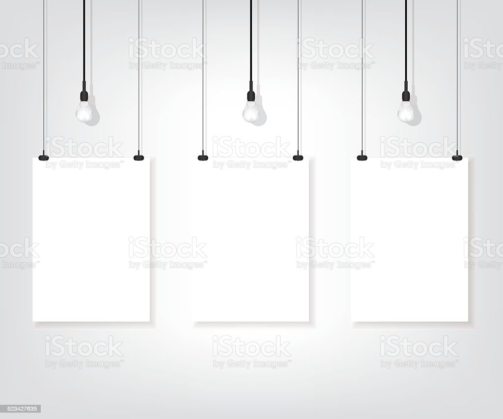 Three white poster on wall and bulb vector art illustration
