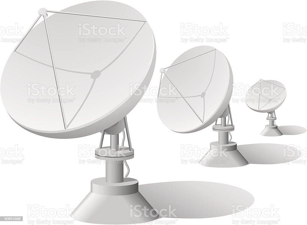 Three white satellite dishes on a white background vector art illustration