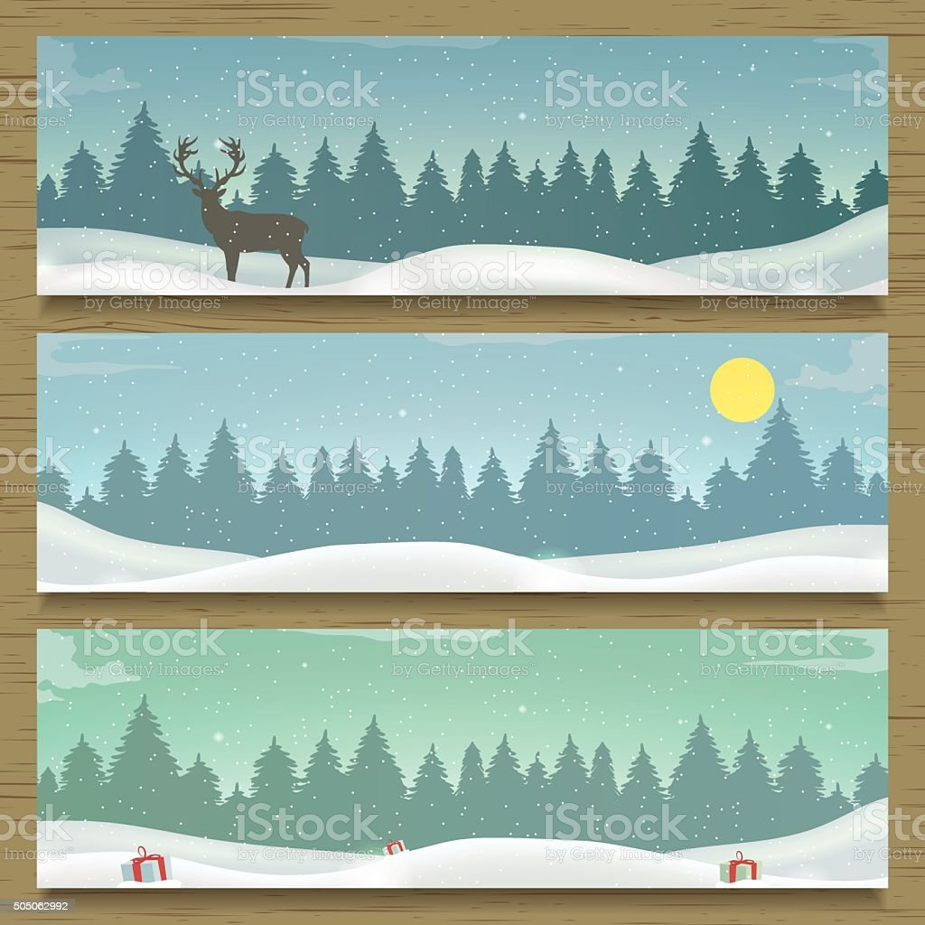 Three winter landscape banners. Winter backround. royalty-free stock vector art