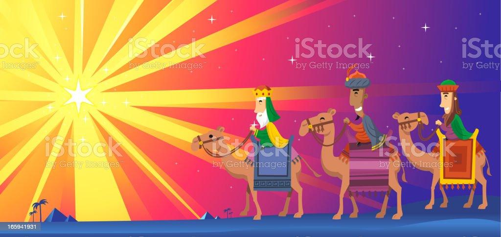 Three Wise kings Men Magi Star Shape royalty-free stock vector art