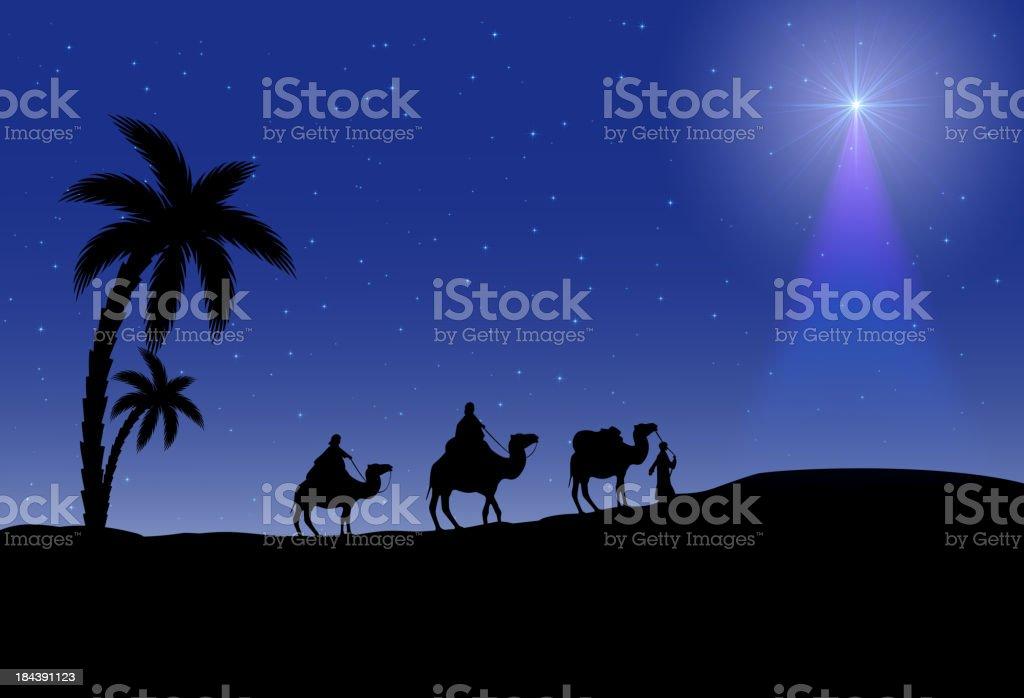 Three wise men and Christmas star vector art illustration