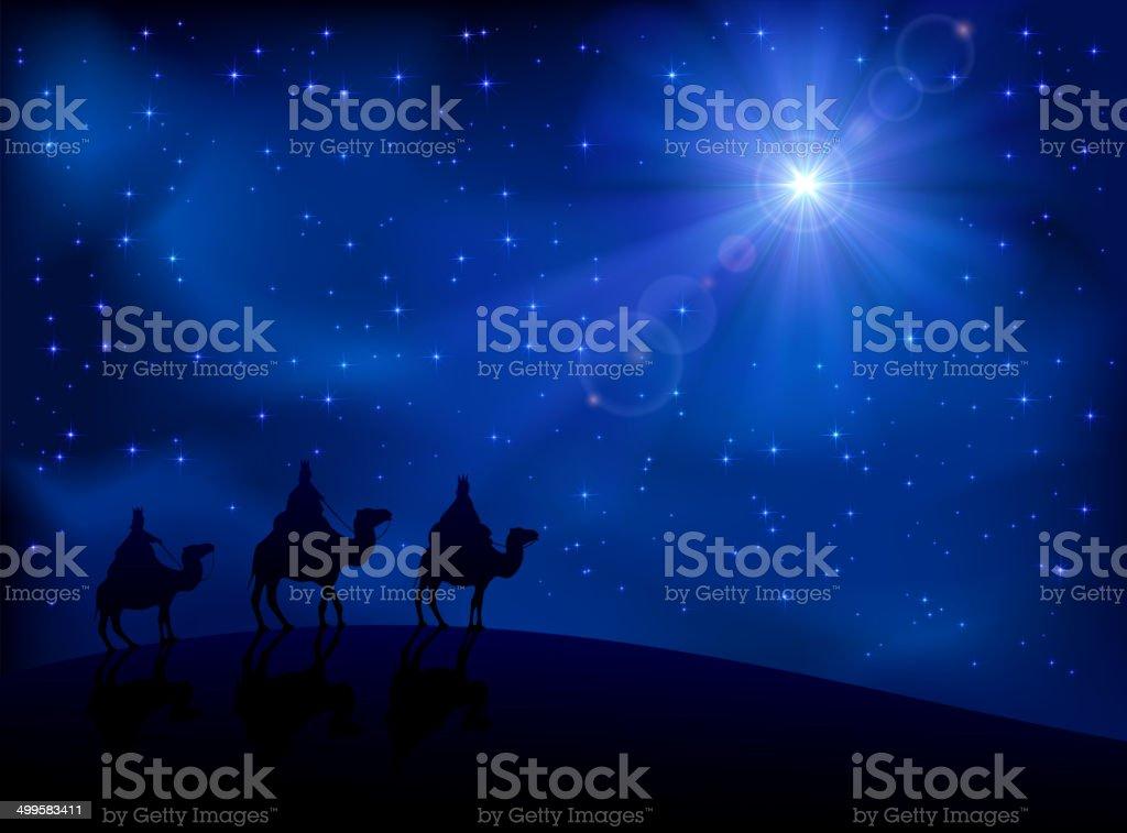 Three wise men and star vector art illustration