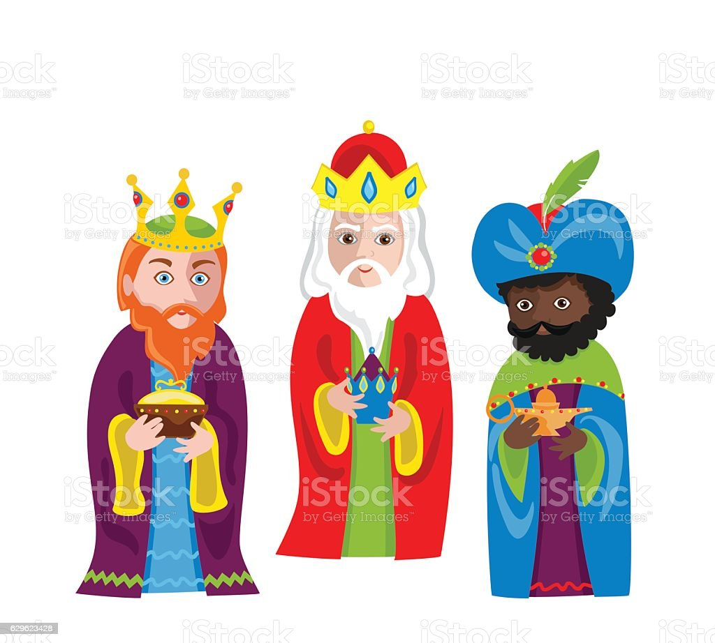 Three Wise Men bring gifts to Jesus on Christmas. vector art illustration