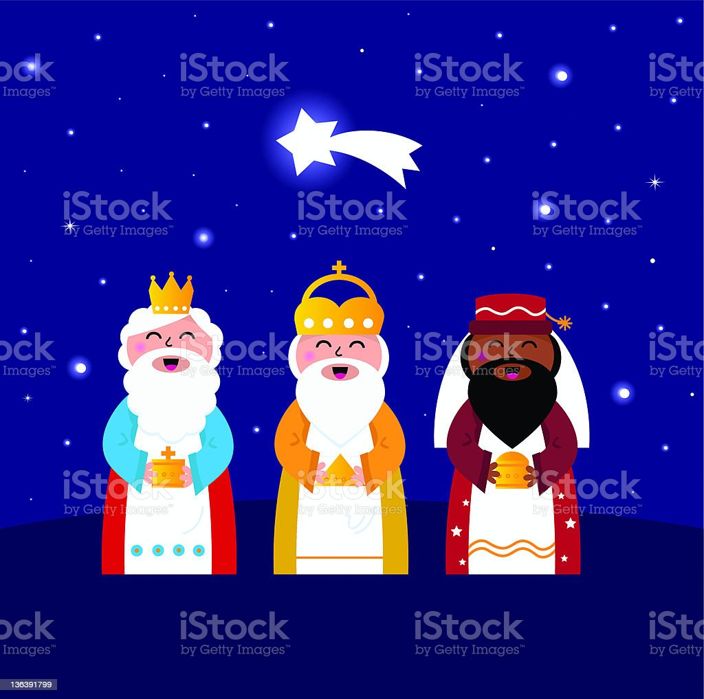 Three wise men bringing gifts to Christ ( night scene ) vector art illustration