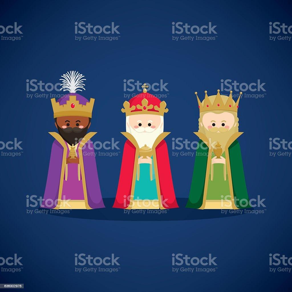 Three wise men bringing gifts to Jesus vector art illustration