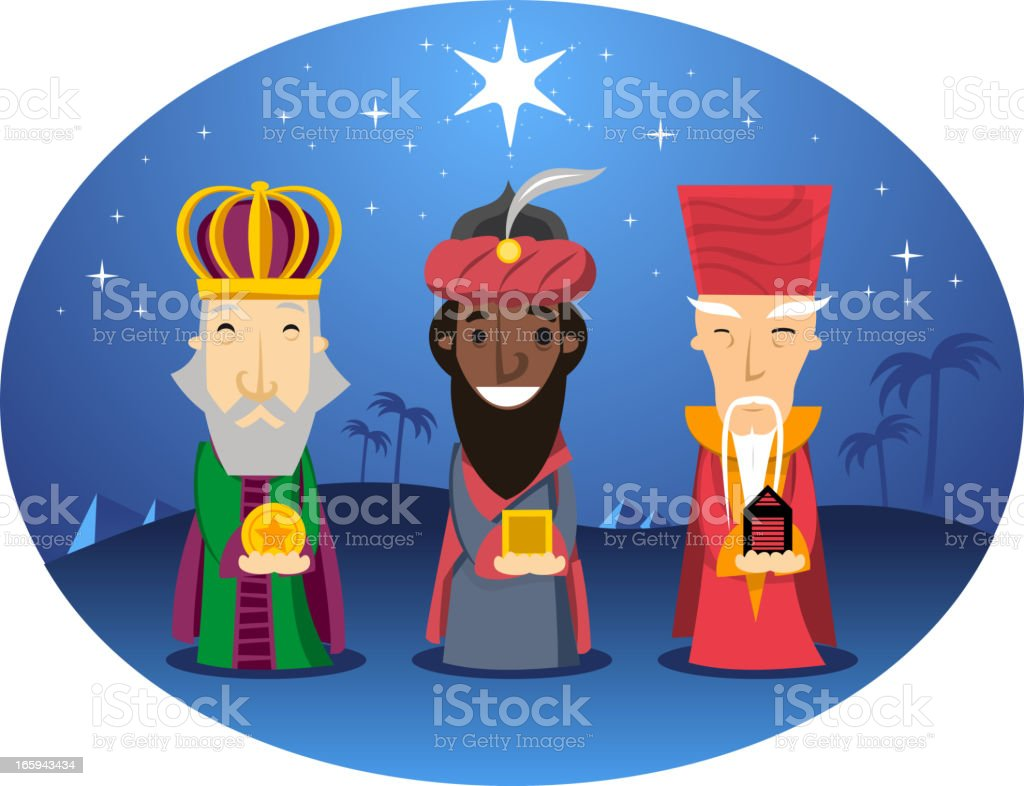 Three wise men kings front view with star shape vector art illustration