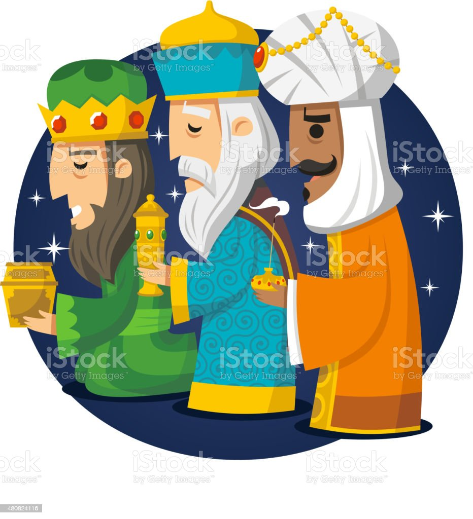 Three Wise Men Kings Melchior Gaspard Balthazar vector art illustration