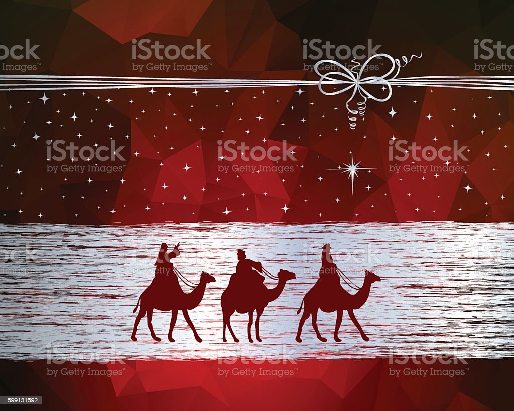 Three Wise Men on their way to Bethlehem vector art illustration