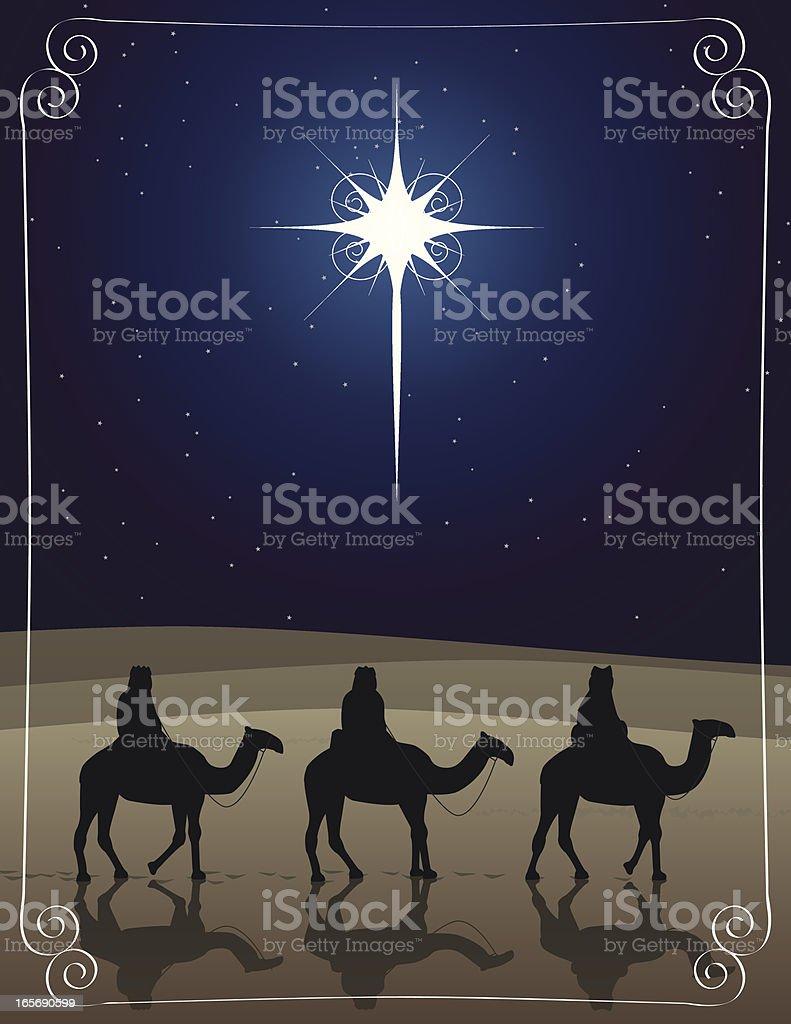Three wise men riding camels to Bethlehem vector art illustration