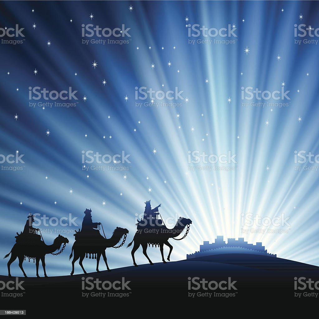 Three wise men silhouetted against starry sky vector art illustration