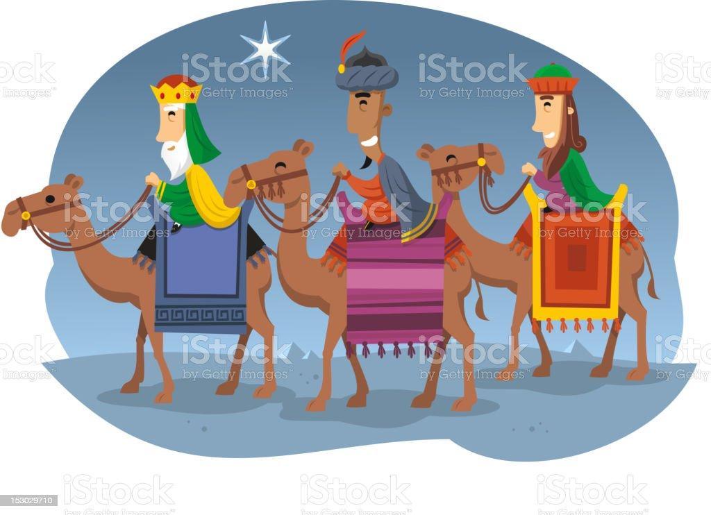 Three wise men, The Magi, Melchior, Caspar & Balthazar vector art illustration