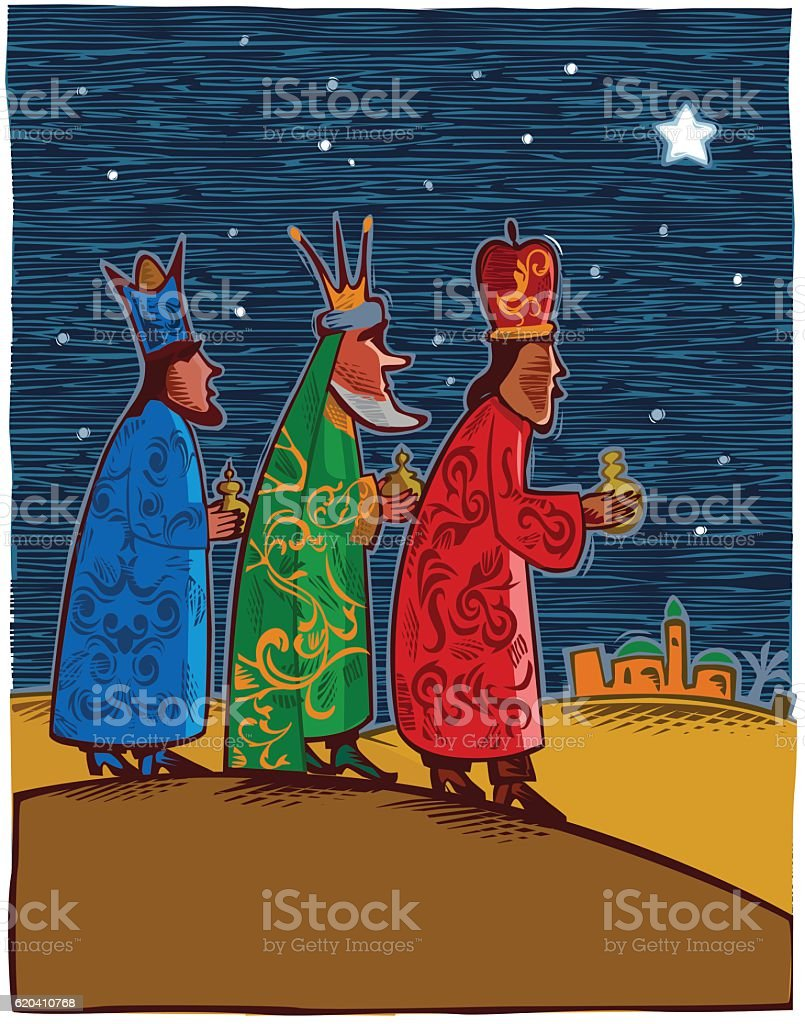 Three wise men - three kings vector art illustration