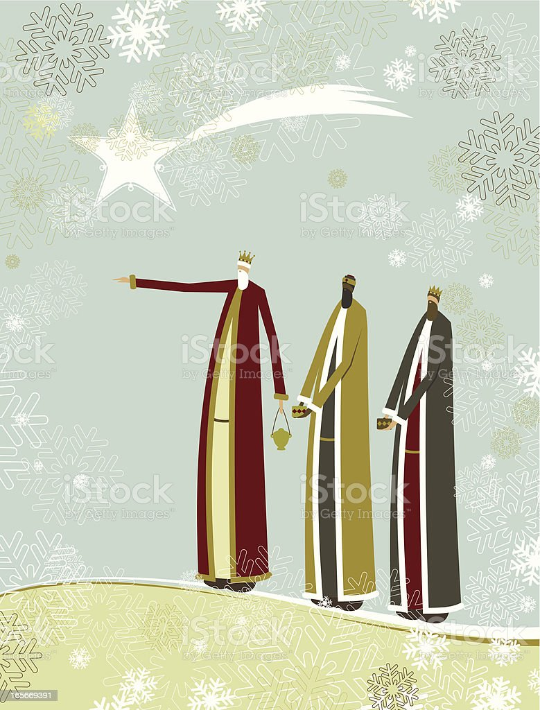 Three wise men travel together vector art illustration
