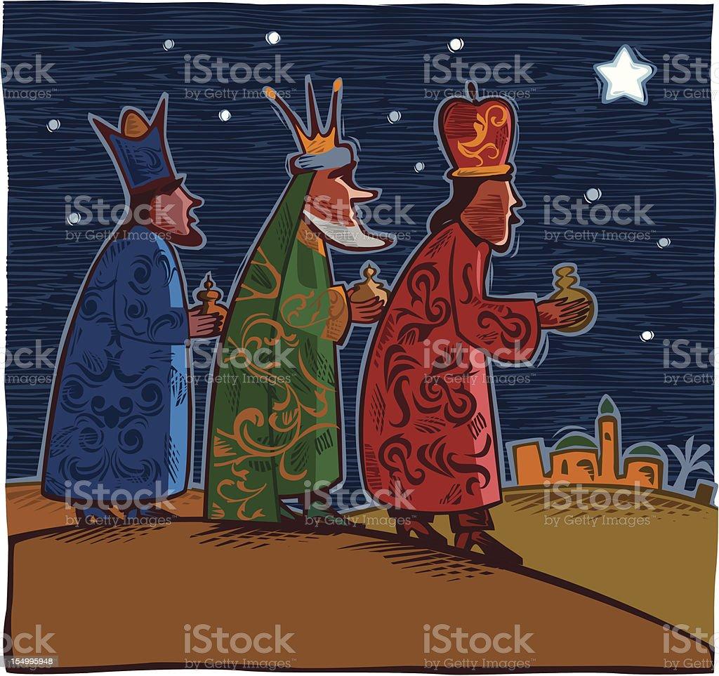 Three wise men vector art illustration