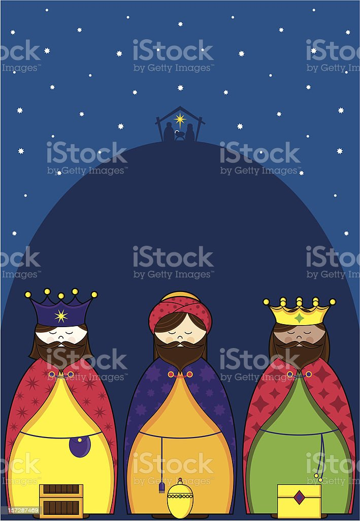 Three Wisemen Bearing Gifts royalty-free stock vector art