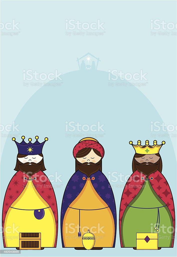 Three Wisemen Bearing Gifts royalty-free stock vector art
