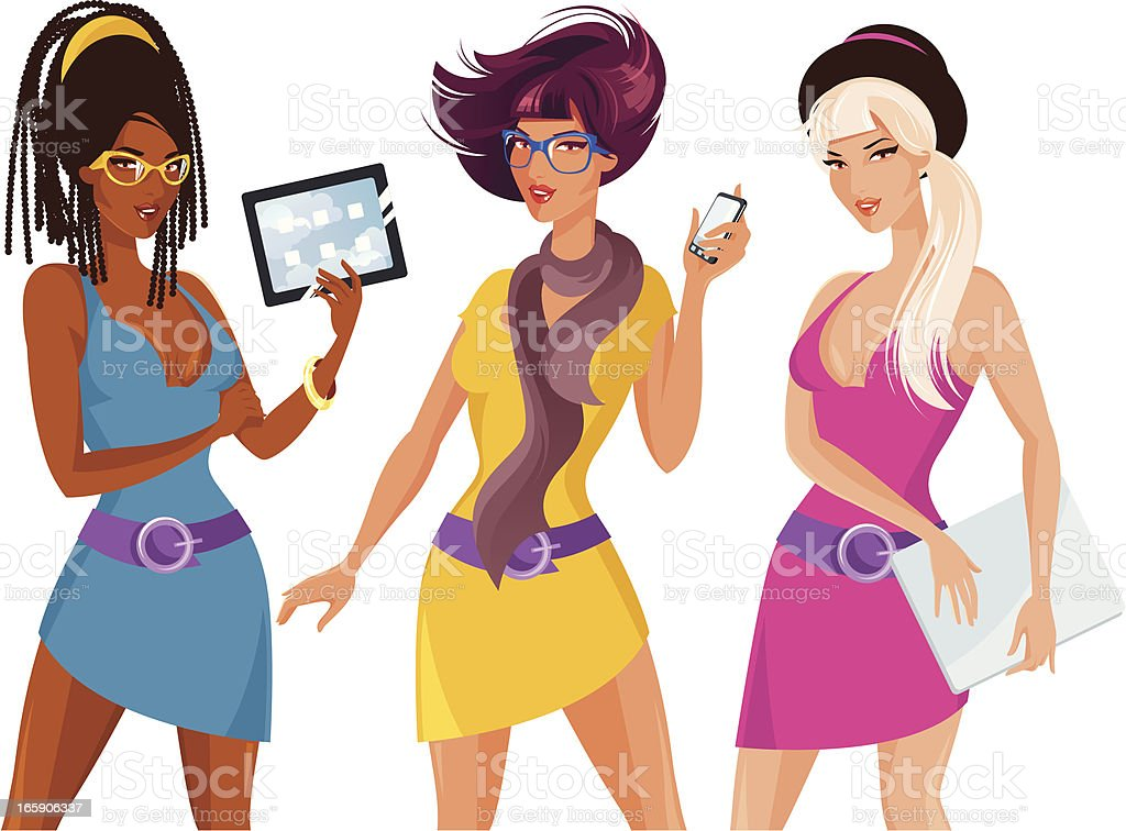 Three woman with electronics. royalty-free stock vector art