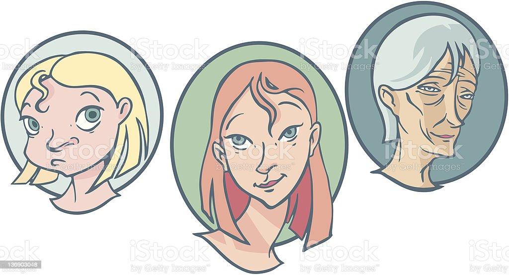 Three women royalty-free stock vector art