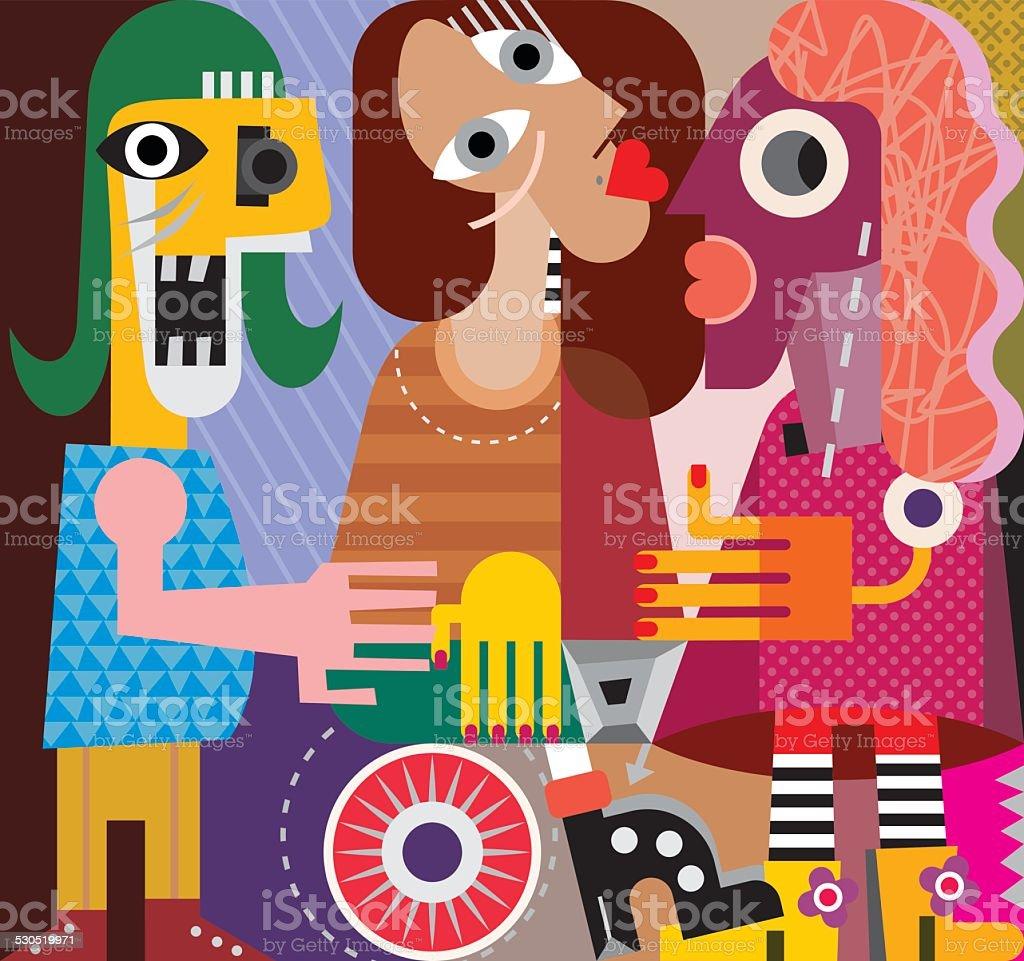 Three women vector art illustration