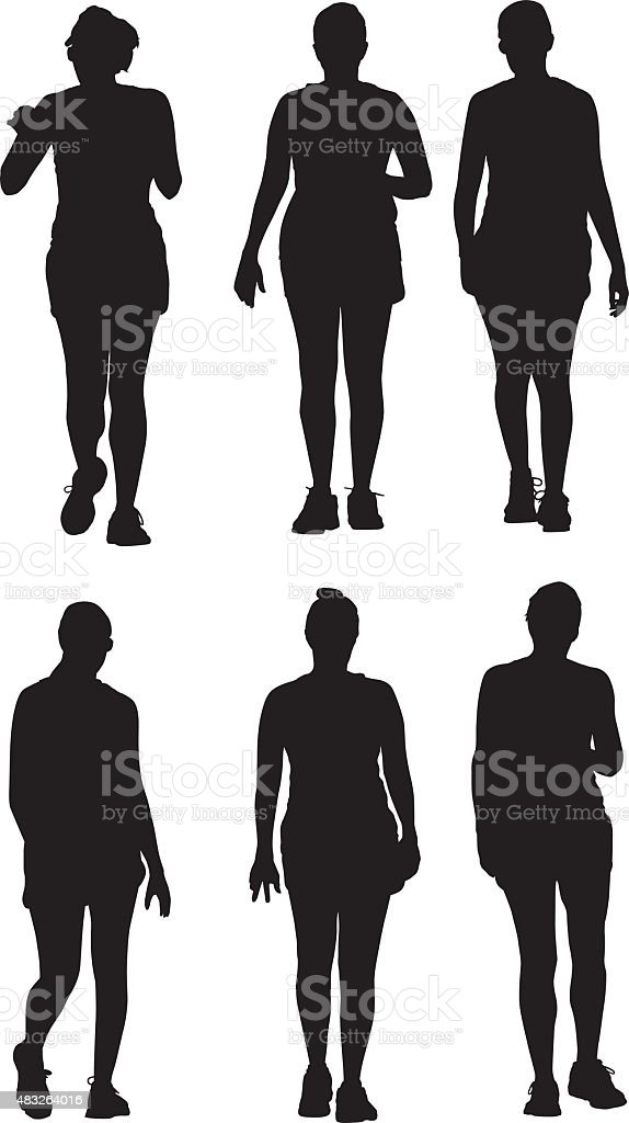 Three Women Walking Together Silhouettes vector art illustration